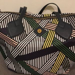 Anne Klein satiny feeling canvas tote, striped